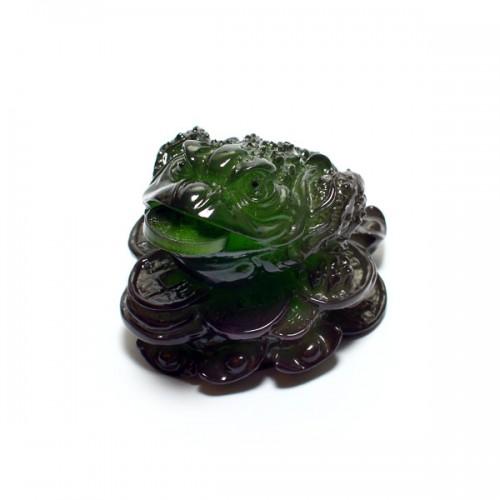 Статуэтка для чайной церемонии «Lucky Little Frog Malachite» от магазина Все чаи