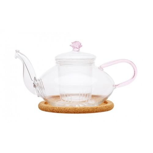 Стеклянный заварочный чайник Миндаль низкий, 450 мл от магазина Все чаи